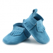 Newborn Arctic Blue Lux Suede Mally Mocs With Fringe