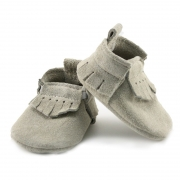 Newborn Birch Lux Suede Mally Mocs With Fringe