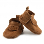 Newborn Chestnut Lux Suede Mally Mocs With Fringe
