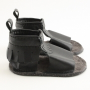 black fringe mally mocs sandals