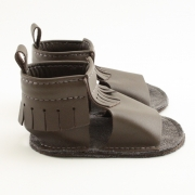 chocolate mally mocs sandals with fringe