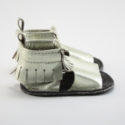 metallic gold mally mocs sandals with fringe