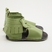 lime mally mocs sandals with fringe