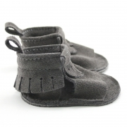 Lux Suede Mally Mocs Sandals with Fringe
