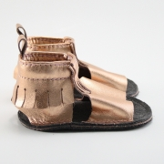 metallic rose gold mally mocs sandals with fringe