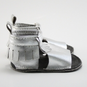 metallic silver mally mocs sandals with fringe