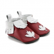 mally mocs baby moccasins with fringe - maple leaf