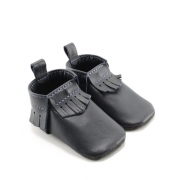 mally mocs baby moccasins with fringe - midnight