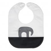 monochrome elephant baby bib