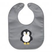 monochrome penguin baby bib