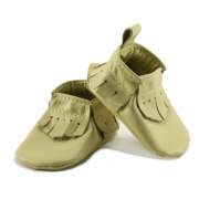 newborn mally mocs - butter with fringe