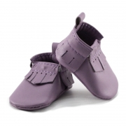 newborn mally mocs - lilac with fringe