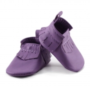 newborn mally mocs - orchid with fringe