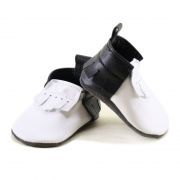 newborn penguin - black and white two tone mally mocs with fringe