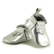 silver newborn mally mocs