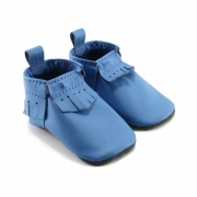 bright blue leather baby moccasins