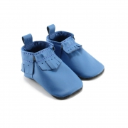 mally mocs baby moccasins with fringe - sailor