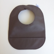 mally bibs solid leather bib - chocolate