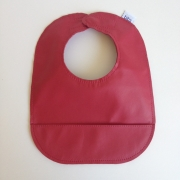 mally bibs solid leather bib - poppy