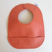 mally bibs solid leather bib - tangerine