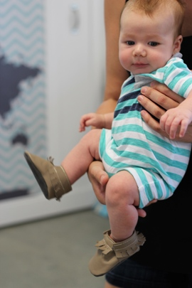 mally mocs on 3 month old at product testing event