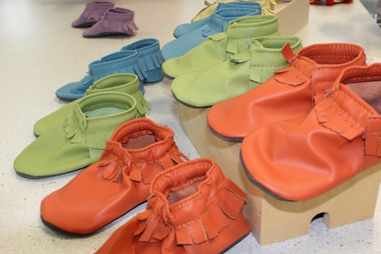 first prototypes of Mally Mocs leathe rbaby moccasins
