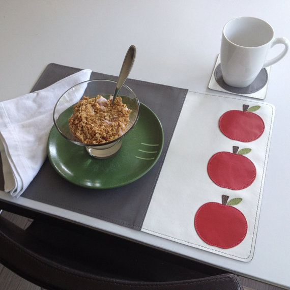 Mally Designs Leather Placemat - Apples