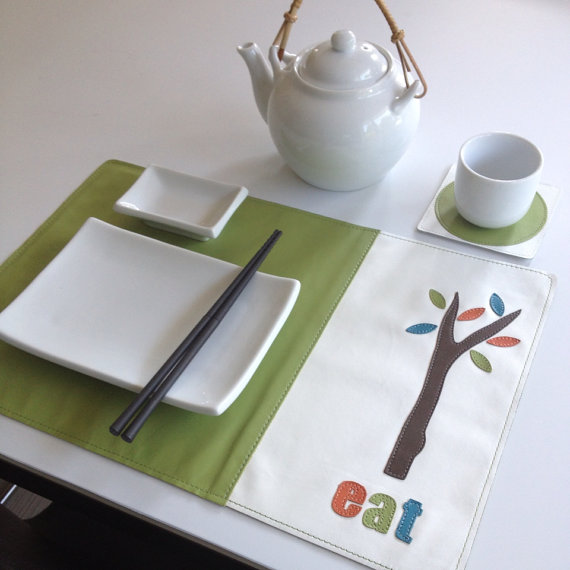 Mally Designs Leather Placemat - eat tree