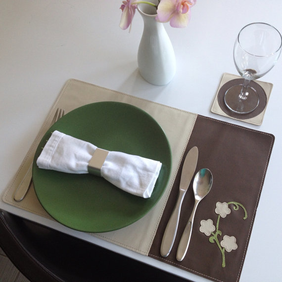 beige and lime flowers leather placemat