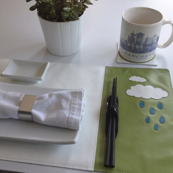 Mally Designs Leather Placemat - Rain Clouds
