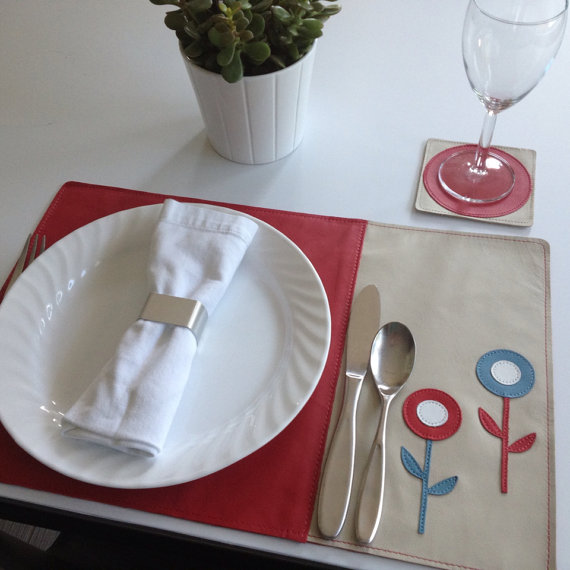 Mally Designs Leather Placemat - Red & Blue Flowers