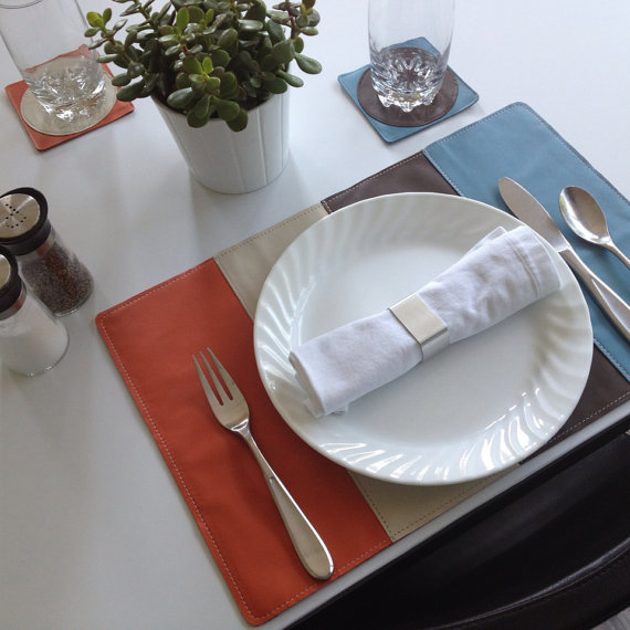 stripes leather placemat